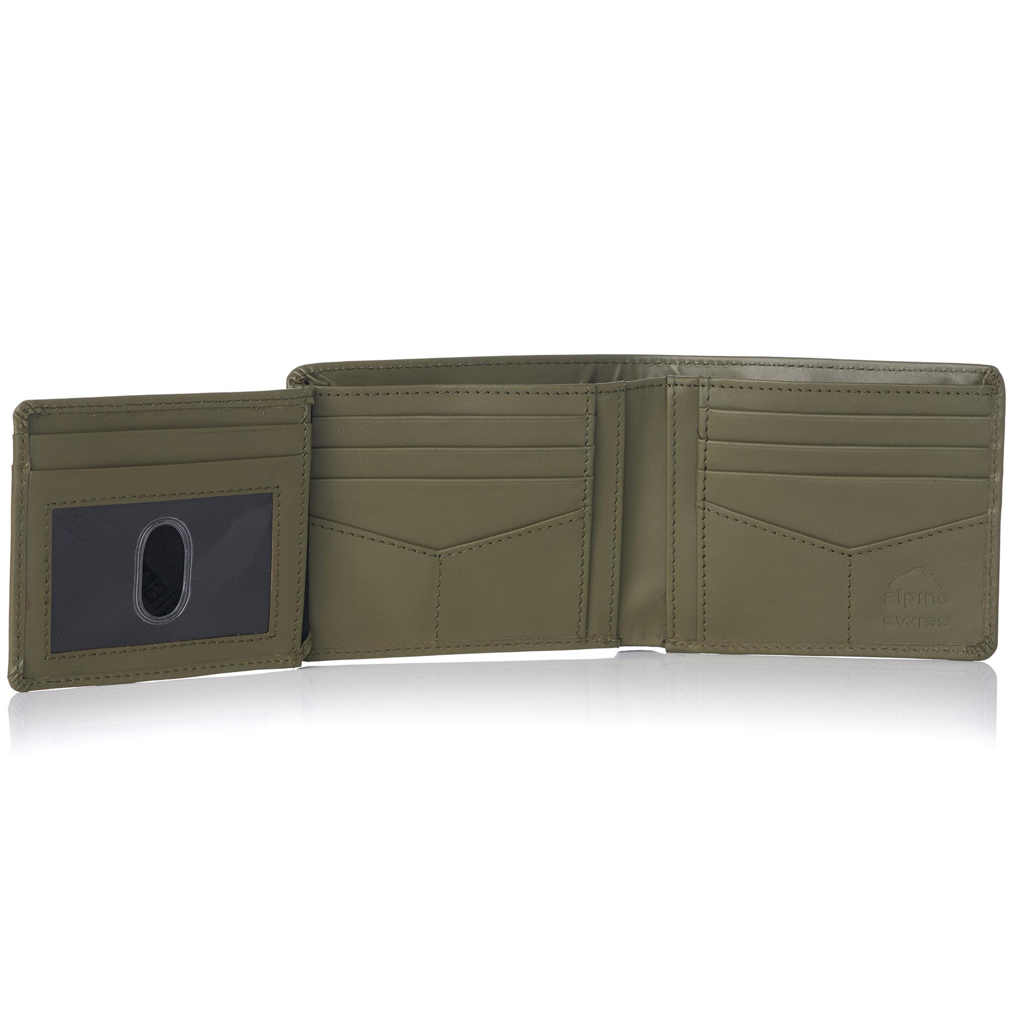 Alpine Swiss RFID Mens Wallet Deluxe Capacity Hybrid Bifold Flipout ID Window