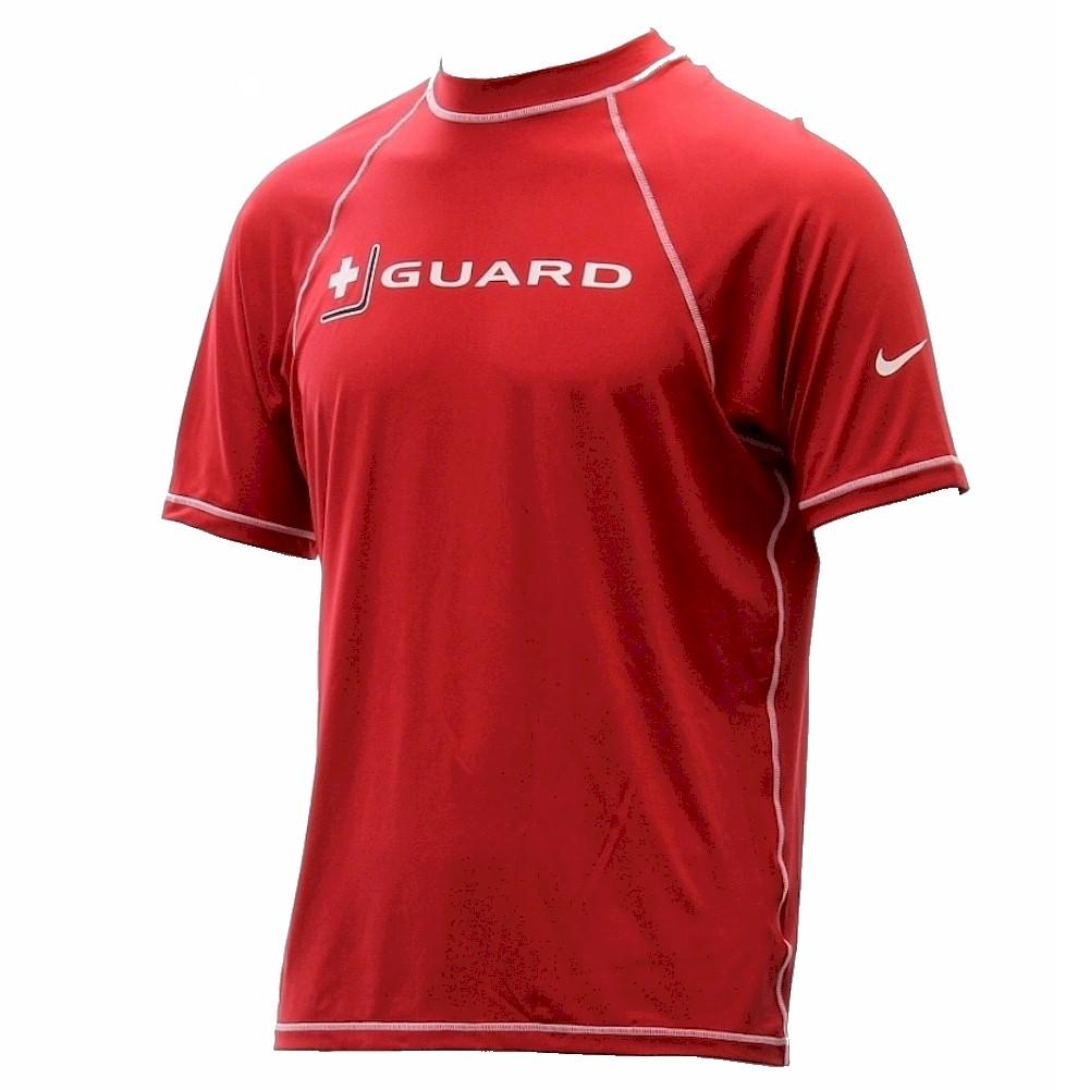Nike men 39 s guard dri fit uv short sleeve varsity red swim for Men s uv swim shirt short sleeve
