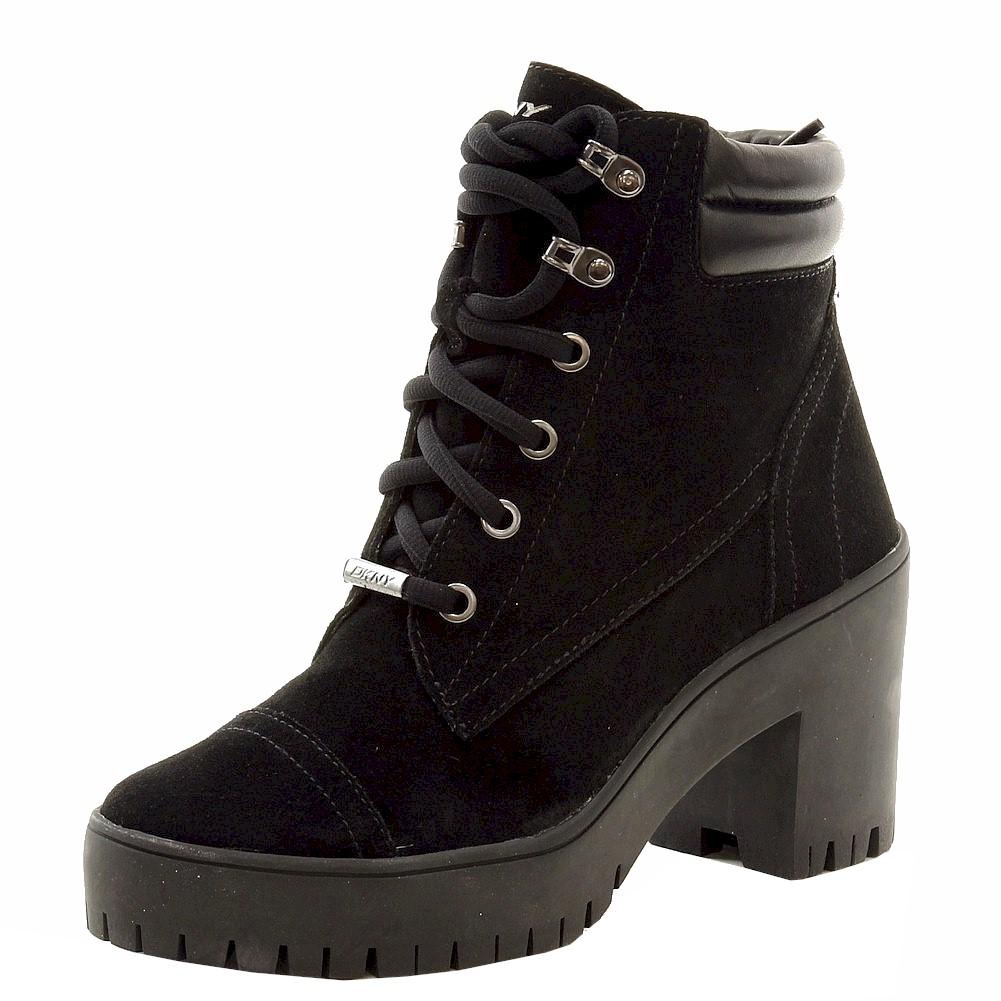 Donna Karan DKNY Women's Shelby Fashion Black Lace Up Boots ...