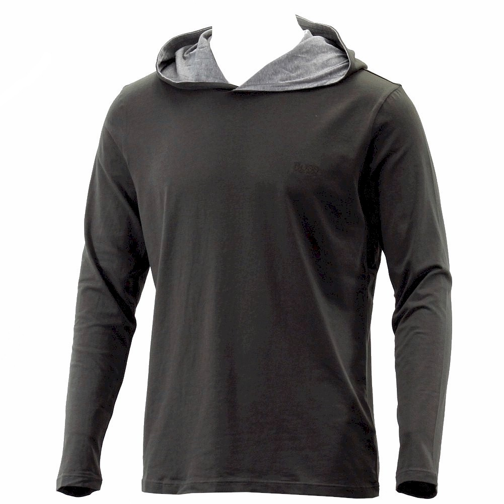 Hugo boss men 39 s long sleeve hooded t shirt for Boys long sleeve shirt with hood