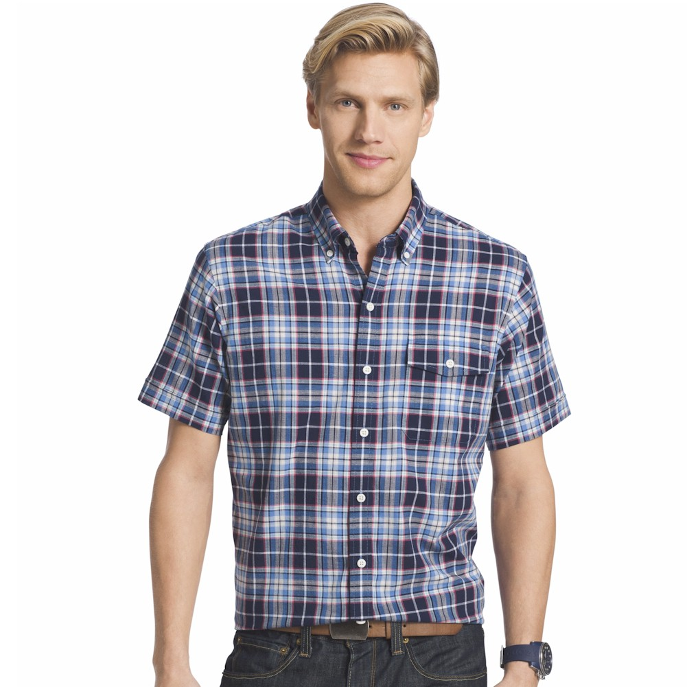 Izod men 39 s saltwater dockside chambray button down plaid for Izod button down shirts