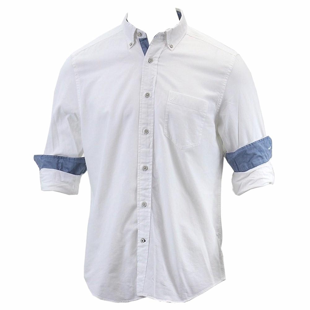 Nautica men 39 s anchor long sleeve pinpoint white cotton for White button down oxford shirt
