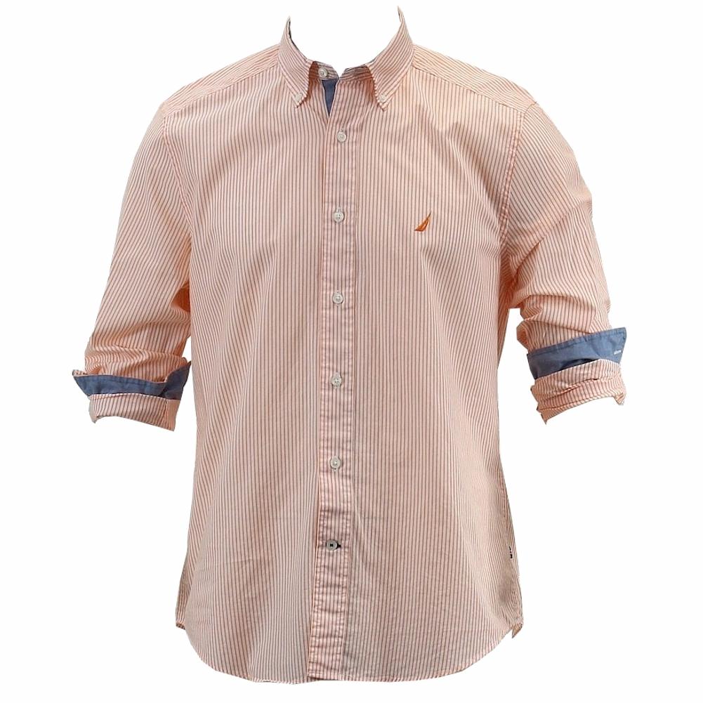 Nautica men 39 s key item sun coast orange stripe poplin for Cotton button up shirt