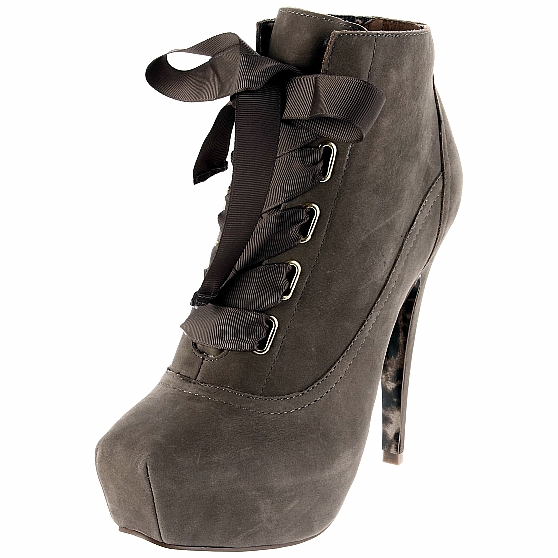 betsey johnson shoes tales lace up ankle bootie grey