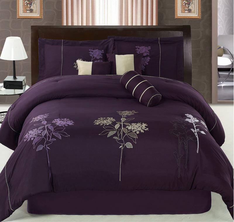 7pcs queen purple floral embroidered comforter set ebay for Bedding violet