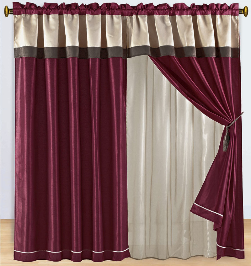 Burgundy And Brown Floral Embroidered Curtain Set