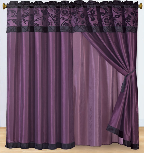 purple and black floral flocked curtain set w valance