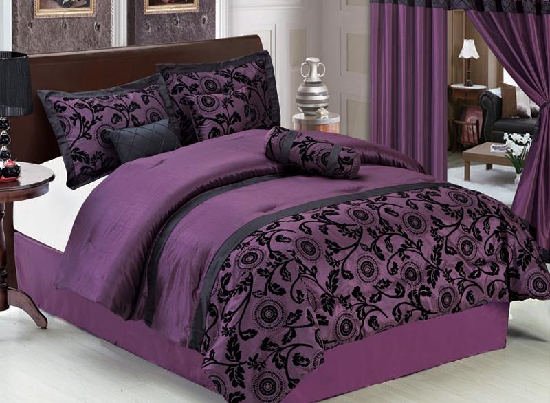 Details about 7pcs king purple and black floral flocked comforter set
