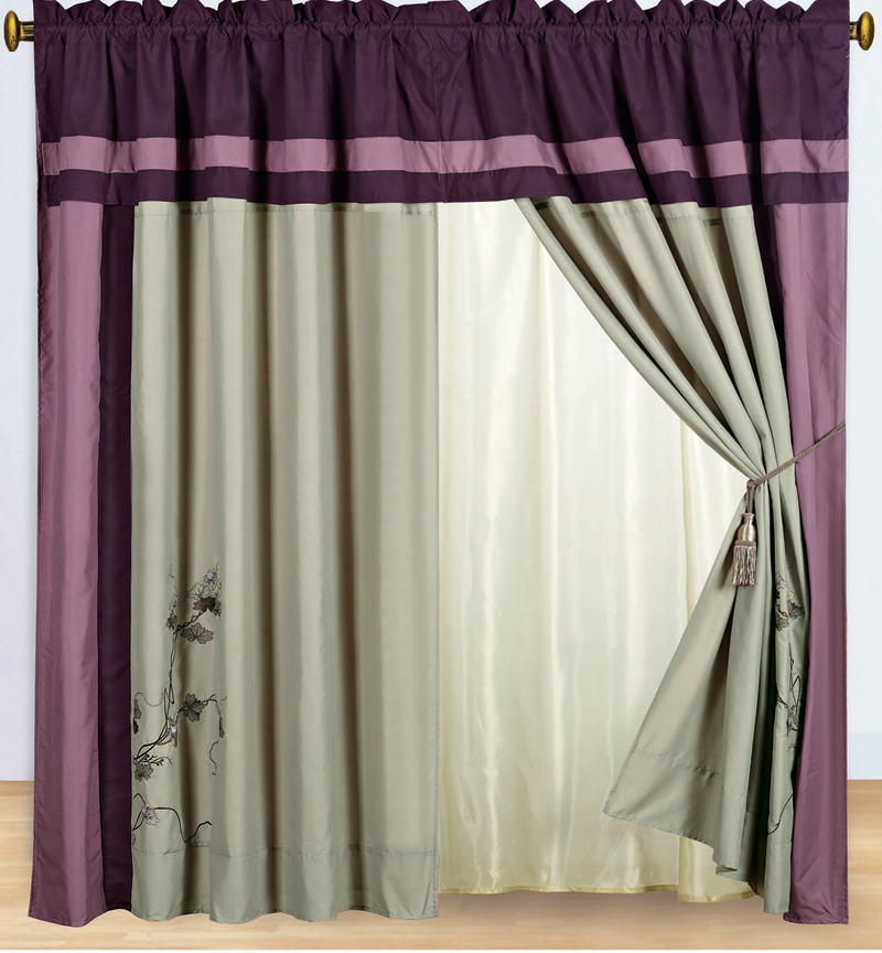 purple and gray embroidered curtain set w valance sheer