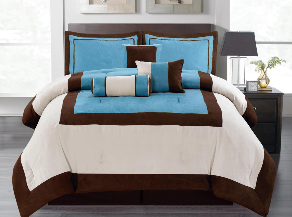 11 piece king blue micro suede block bed in a bag set