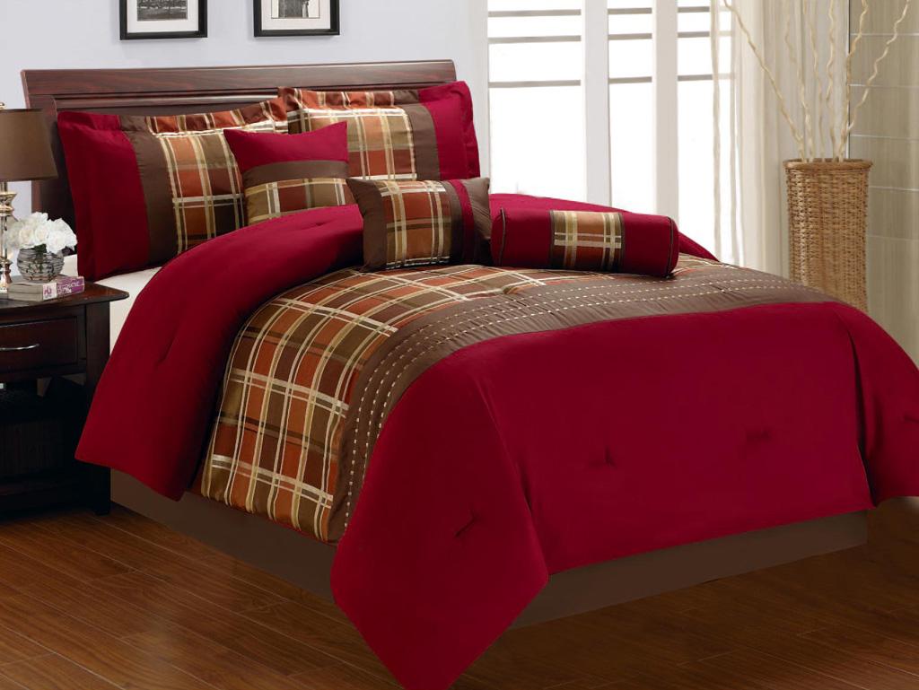 KingLinen 7 Piece Burgundy and Brown Plaid Comforter Set