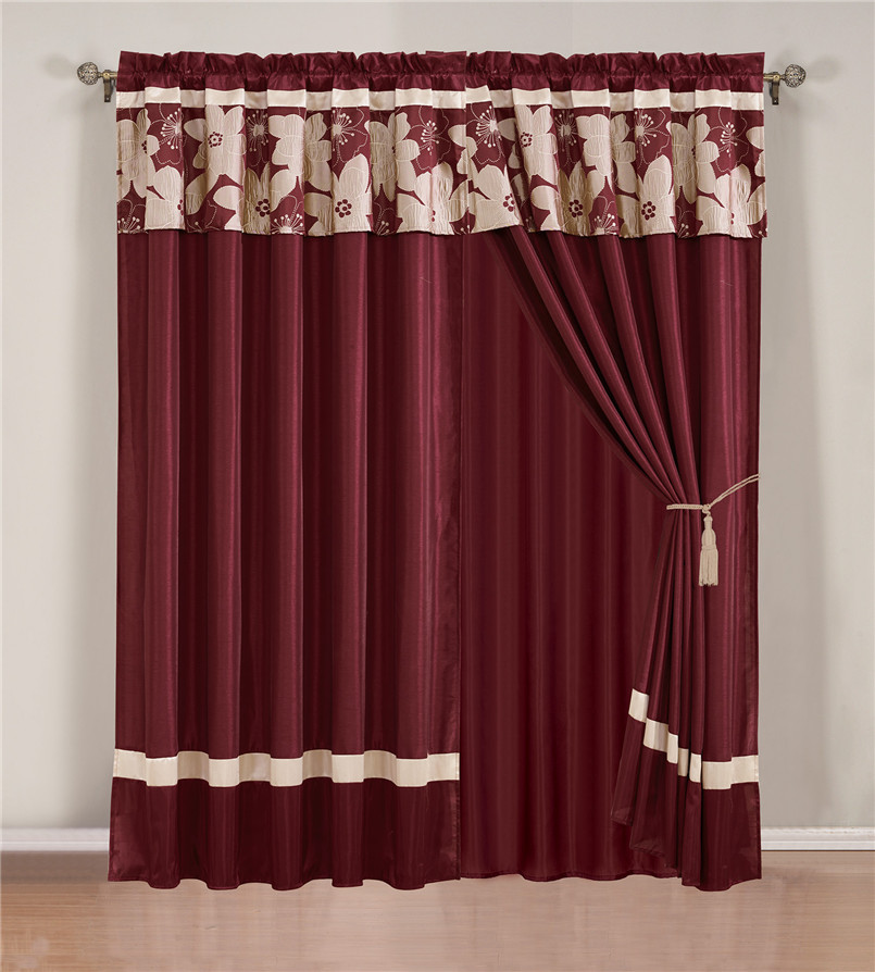 Burgundy And Beige Jacquard Curtain Set
