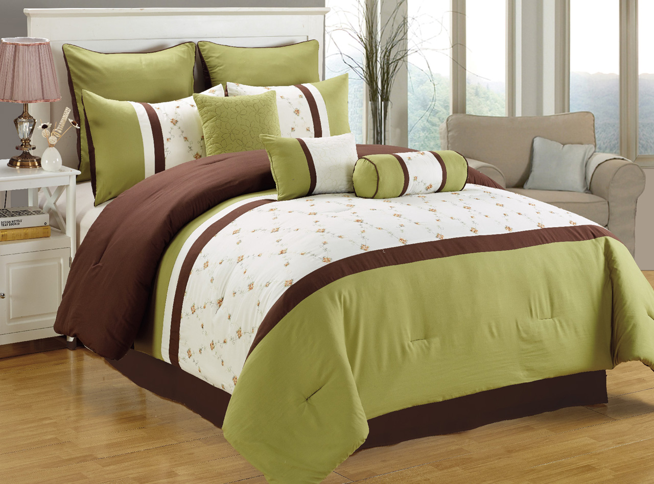 about 7 piece queen green white ch ocolate embroidered comforter set