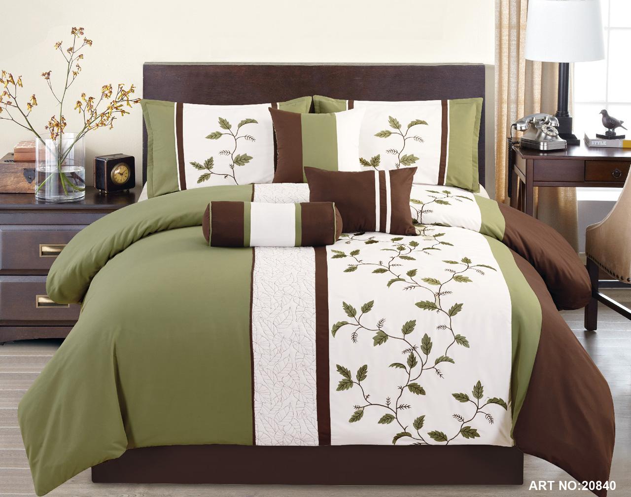 KingLinen 7 Piece Sage/White/Chocolate Embroidered Comforter Set