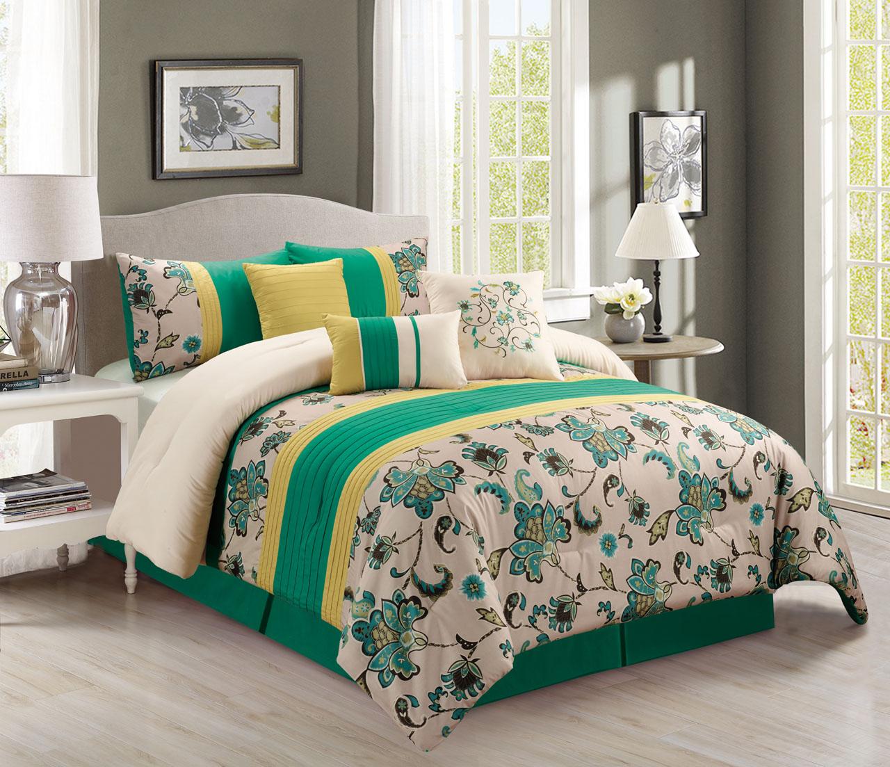 KingLinen 11 Piece Green/Beige/Yellow Floral Bed in a Bag w/500TC Cotton Sheet Set