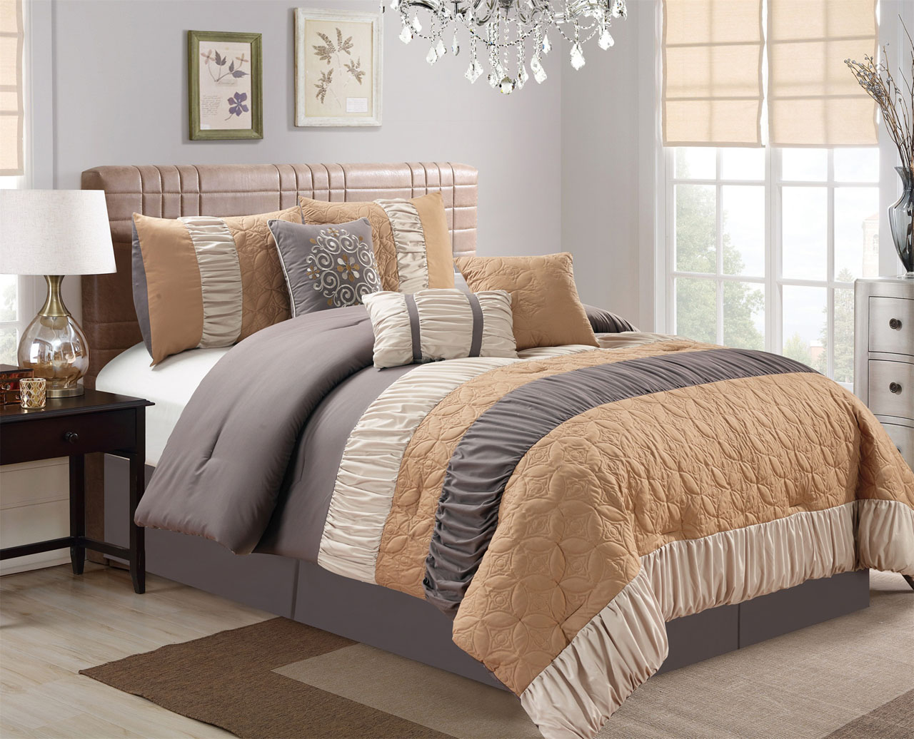 Gray Embroidered Comforter : Piece pinched pleat floral embroidered camel gray beige