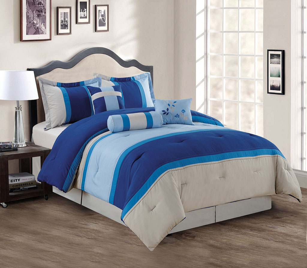 7 Piece Mult Colored Stripes Comforter Set Ebay