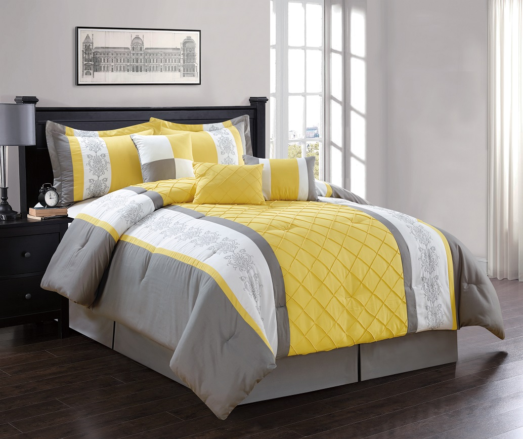 7 piece yellow gray white comforter set ebay. Black Bedroom Furniture Sets. Home Design Ideas