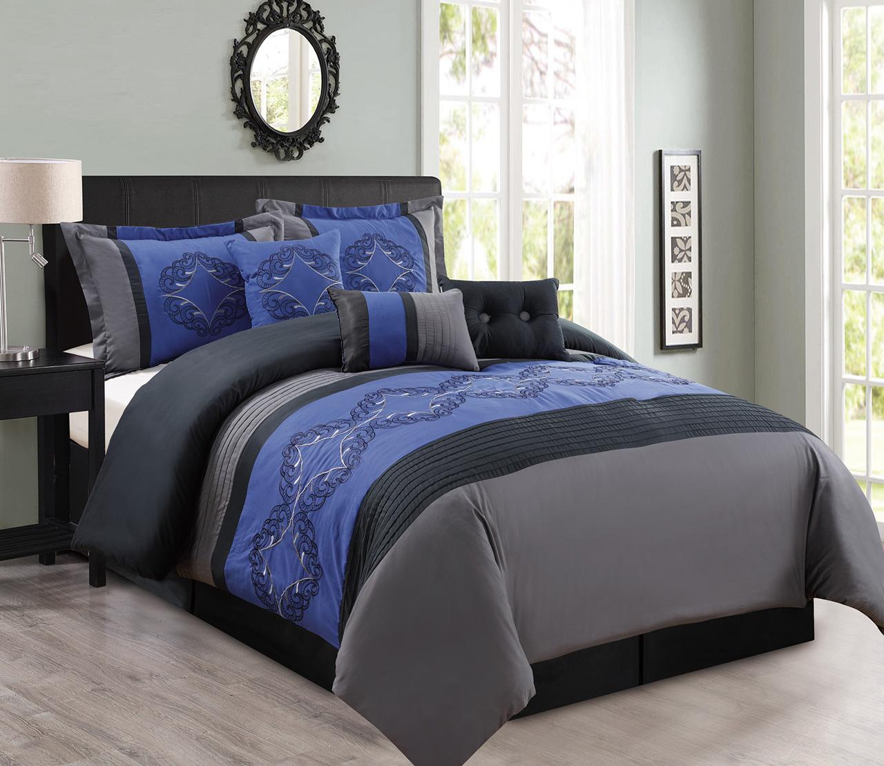 7 piece embroidered crescent comforter set ebay. Black Bedroom Furniture Sets. Home Design Ideas