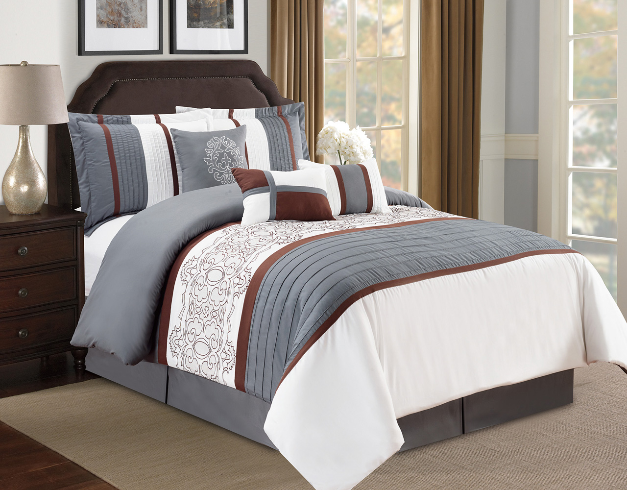 7 Piece Floral Pleated Gray/Ivory Comforter Set