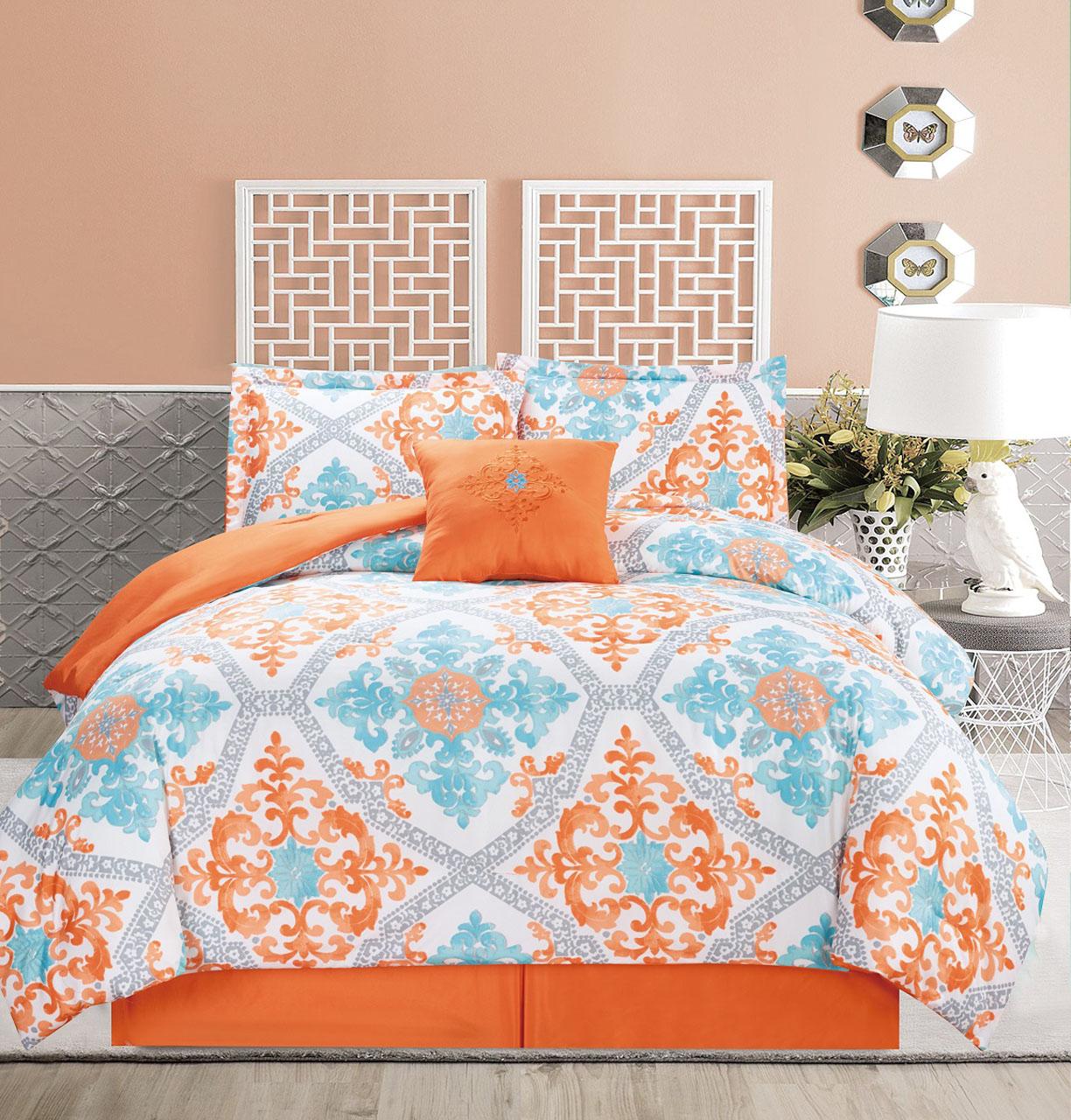 5 piece regal orange blue white comforter set ebay - Orange and blue comforter ...