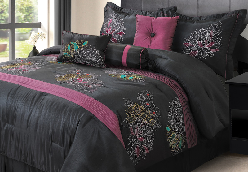 7pcs queen alexandra black and purple comforter set ebay - Black and purple bedding sets ...