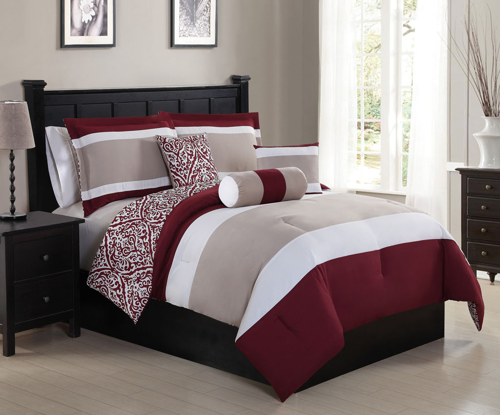 KingLinen 6 Piece Amelina Berry/Taupe Reversible Comforter Set