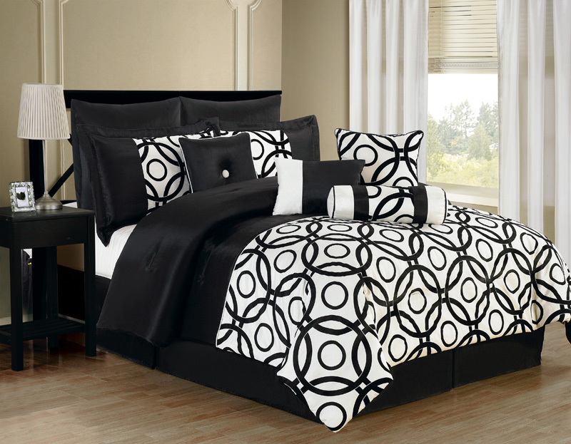10 piece queen benson black and white comforter set - Black and white bedding set ...