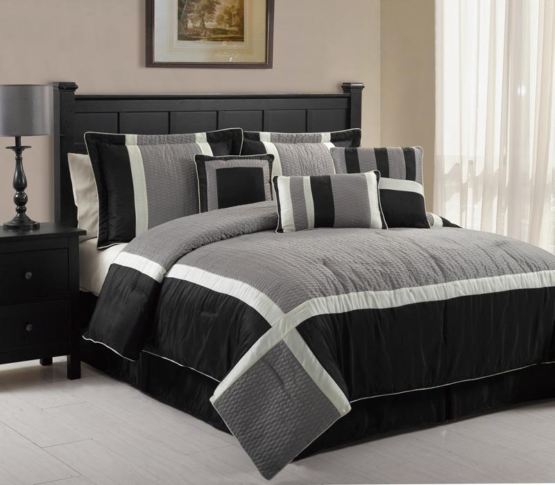 Details about 7pcs queen blaine black and grey comforter set