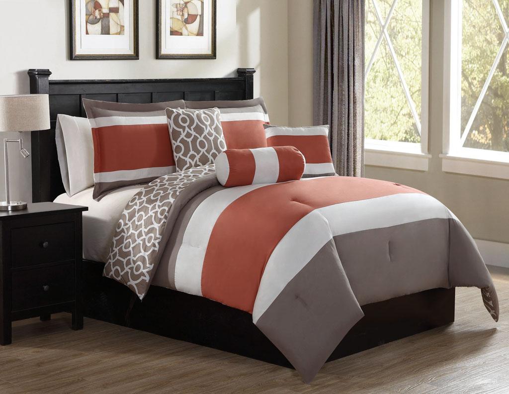 KingLinen 6 Piece Brenny Indigo/Gray Reversible Comforter Set