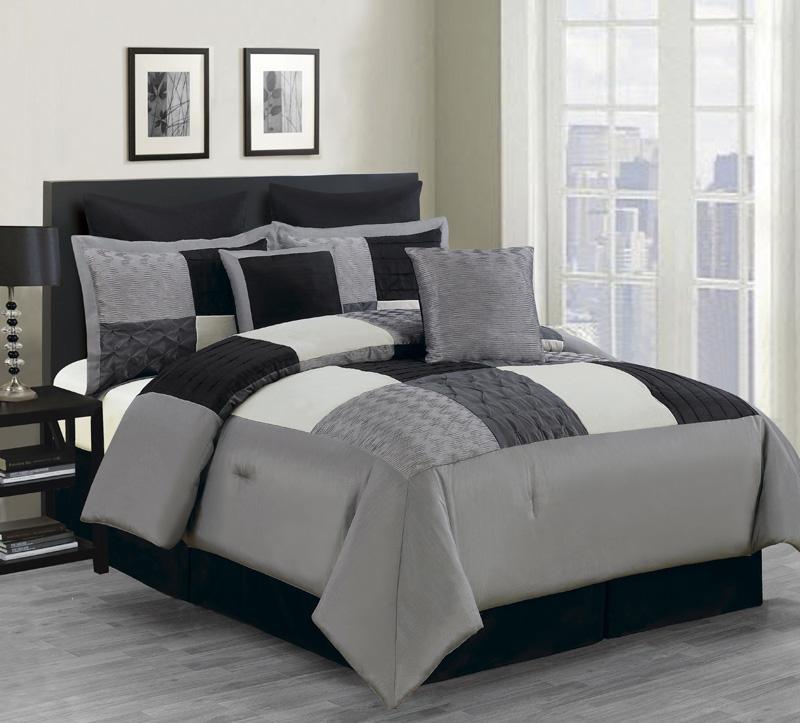 8 piece queen carson comforter set black gray ebay - Gray and black comforter set ...
