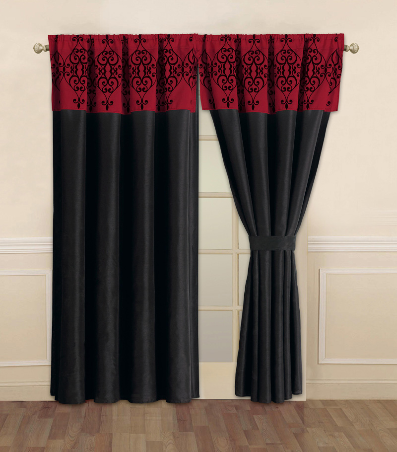 Details about catherine black and red curtain set