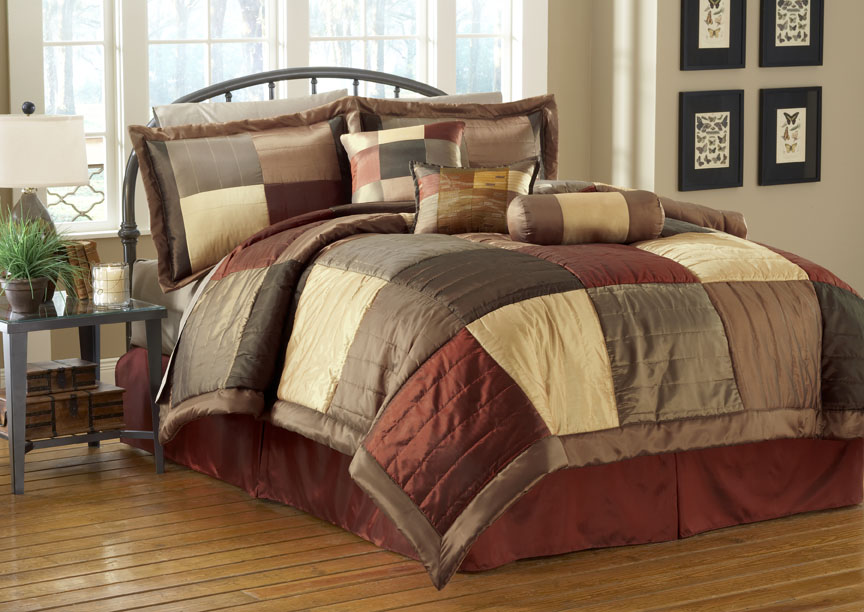 11 piece sequoia burgundy gold brown bed in a bag w 500tc cotton sheet set queen ebay. Black Bedroom Furniture Sets. Home Design Ideas