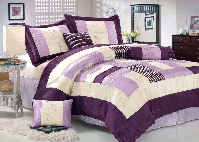 7pcs king serena patchwork comforter set purple ebay