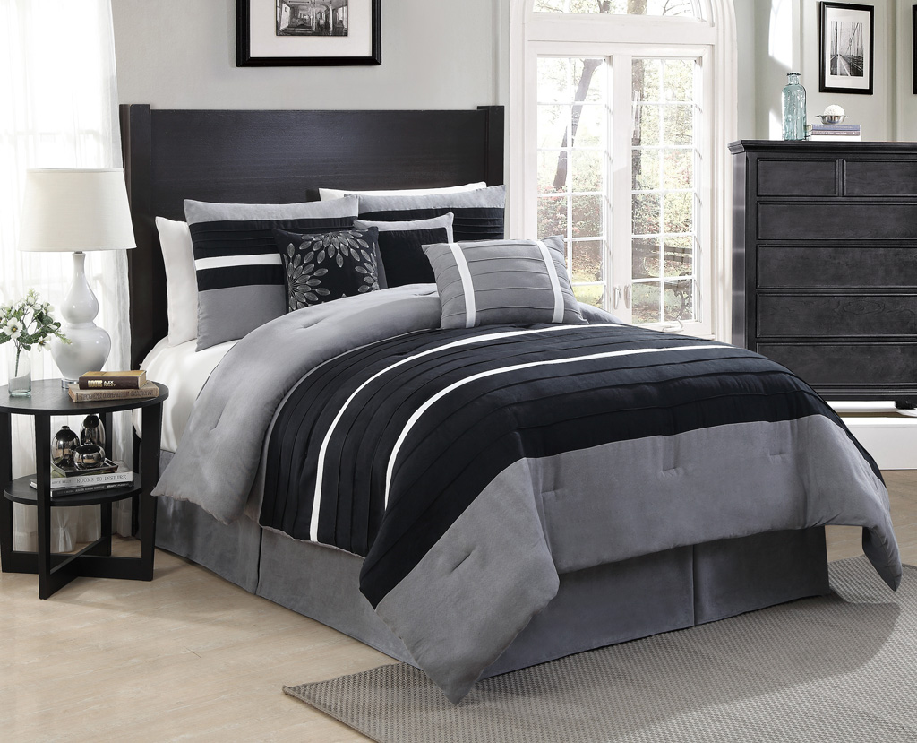 11 piece queen city loft black gray micro suede bed in a. Black Bedroom Furniture Sets. Home Design Ideas