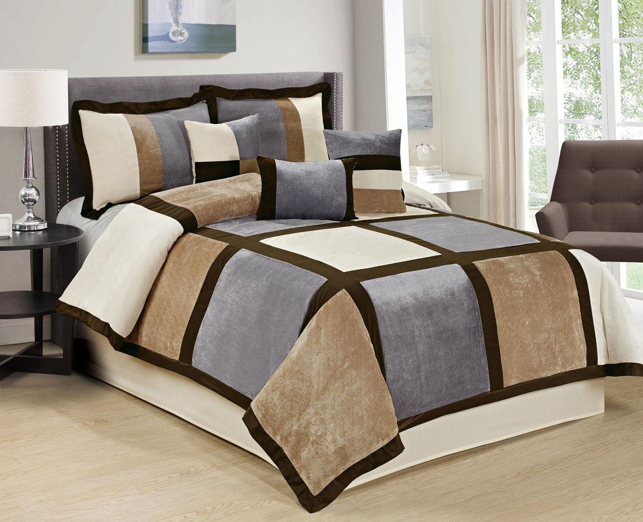 KingLinen 7 Piece Brandy Patchwork Micro Suede Gray/Taupe Comforter Set