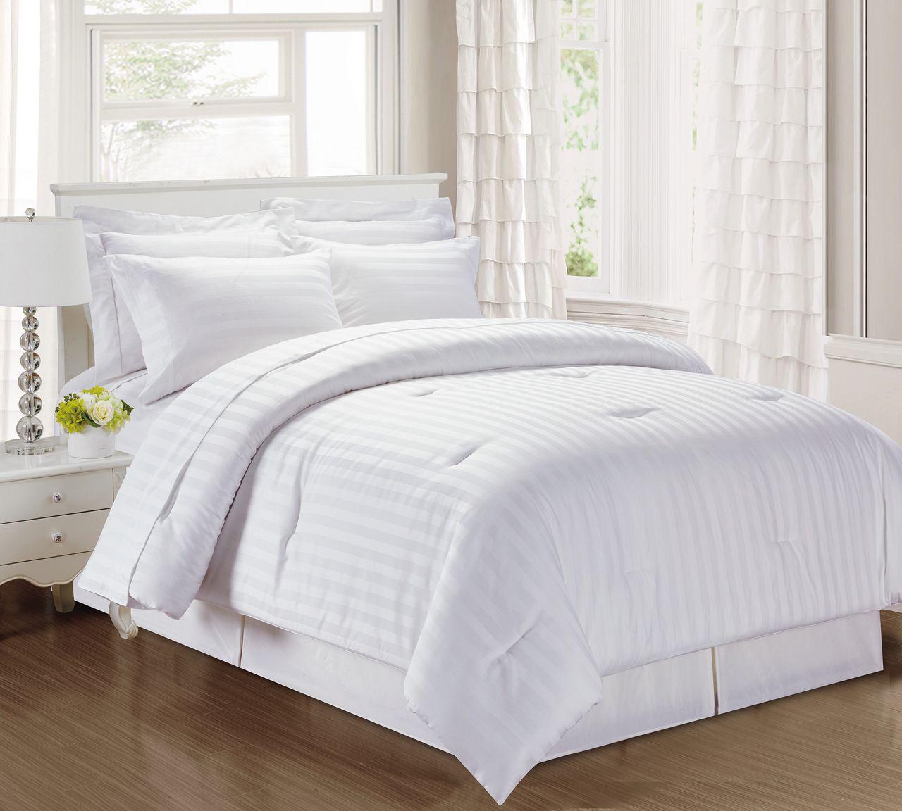 3 Piece Damask Stripe 500 Thread Count Cotton Comforter