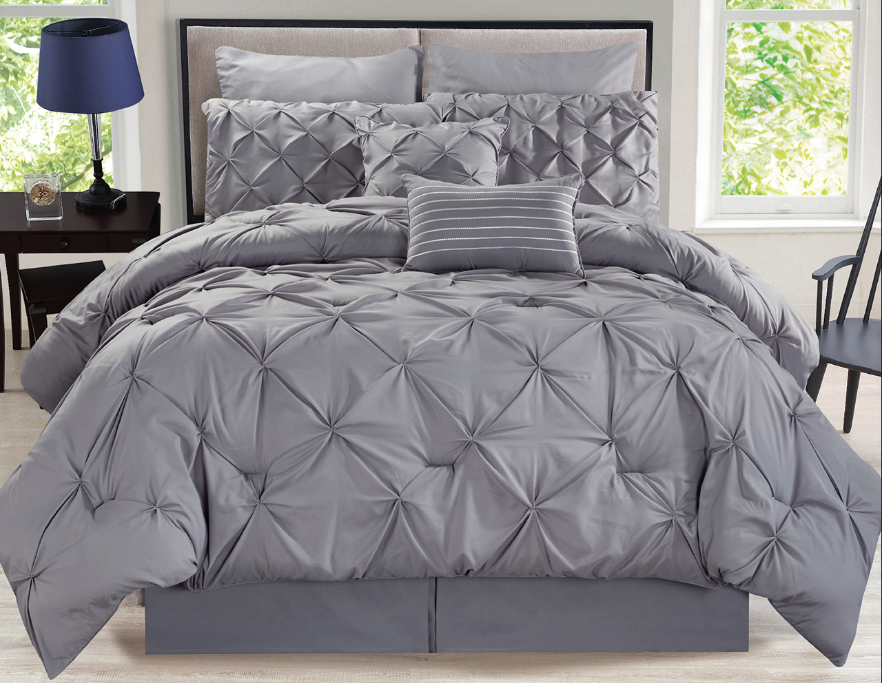 Gray Madeira Comforter Set : Piece rochelle pinched pleat gray comforter set