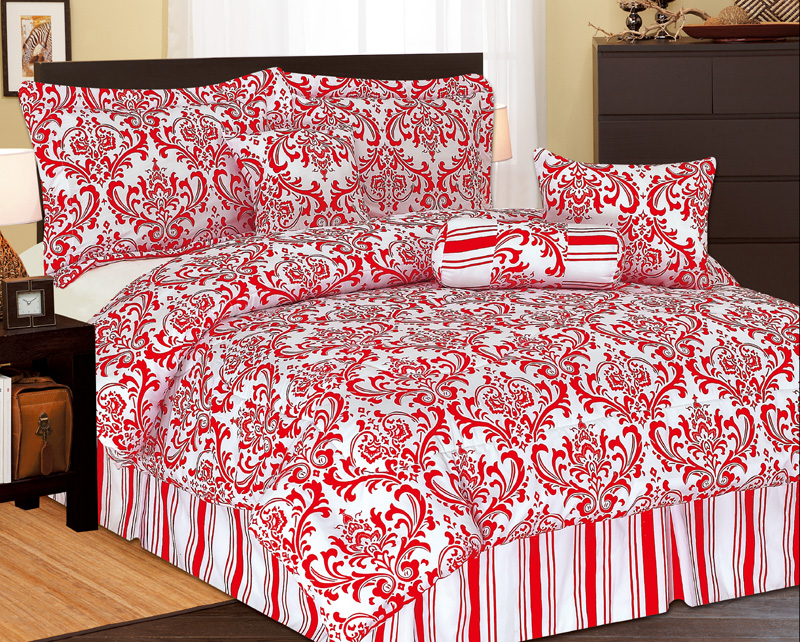 5pcs Twin Xl Extra Long Beverly Comforter Set Red Ebay