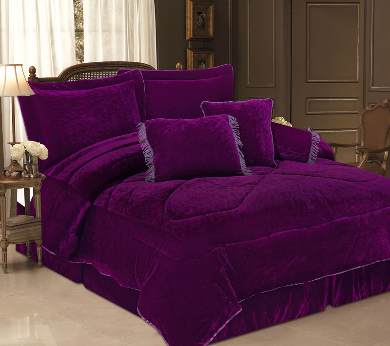 5pcs twin purple velvet bedding comforter set ebay. Black Bedroom Furniture Sets. Home Design Ideas