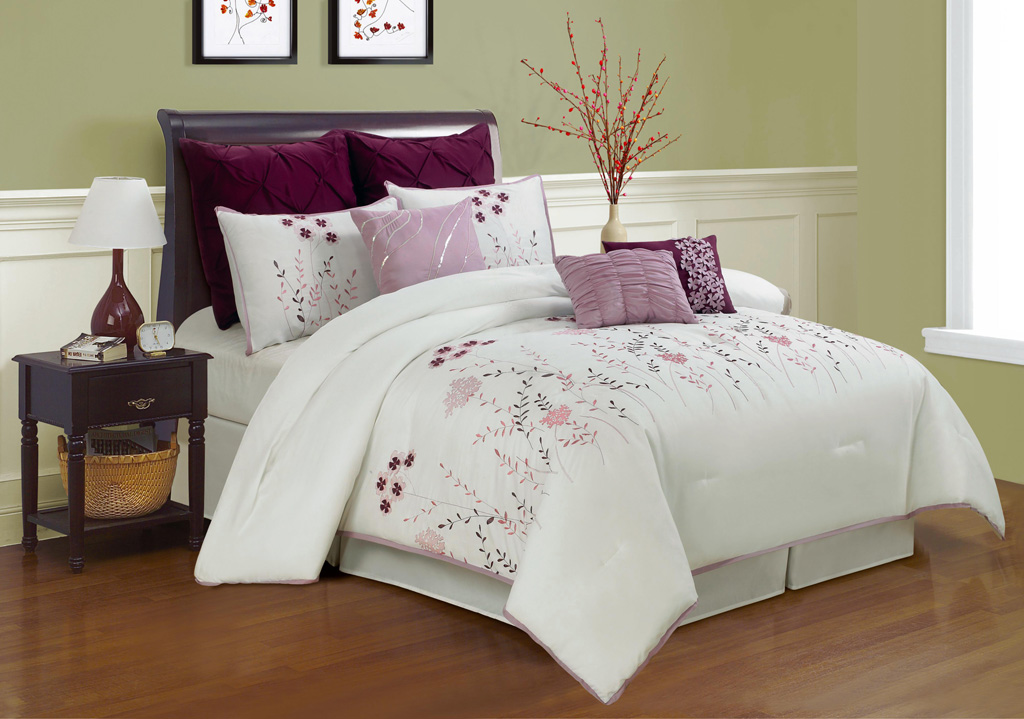 9 piece queen lucern purple and pink embroidered comforter set ebay. Black Bedroom Furniture Sets. Home Design Ideas