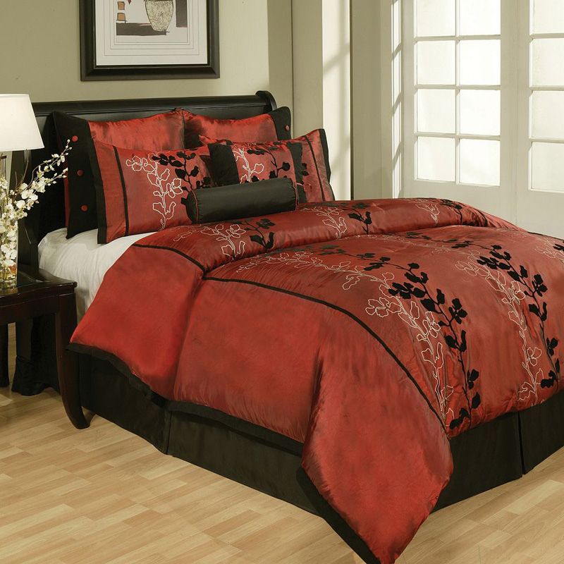 8 Piece Cal King Laurel Flocked Bedding Comforter Bedding Set