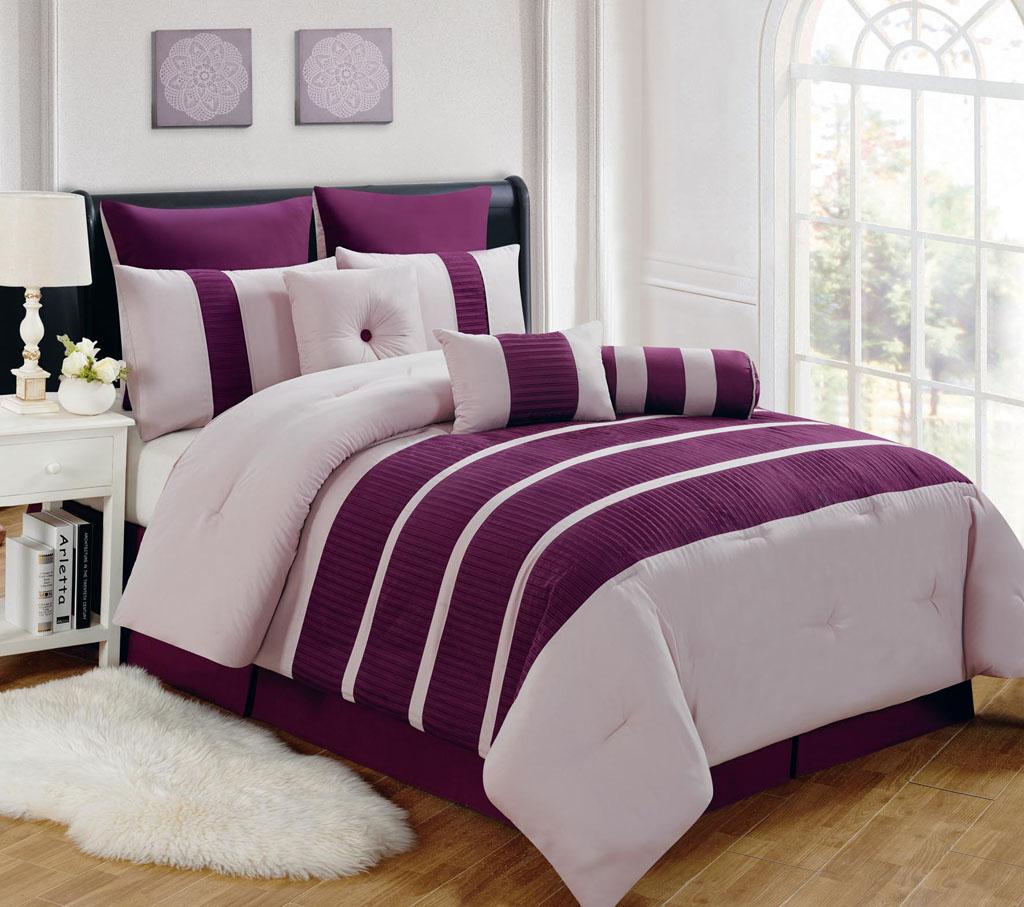KingLinen 9 Piece Cal King Barri Plum Comforter Set