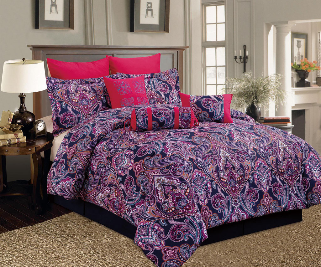 9 piece king castelli red purple comforter set ebay