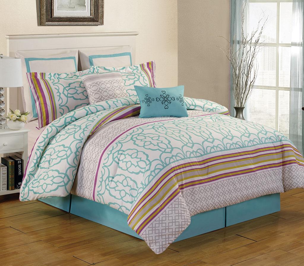 8 Piece Queen Arvada Teal Comforter Set Ebay