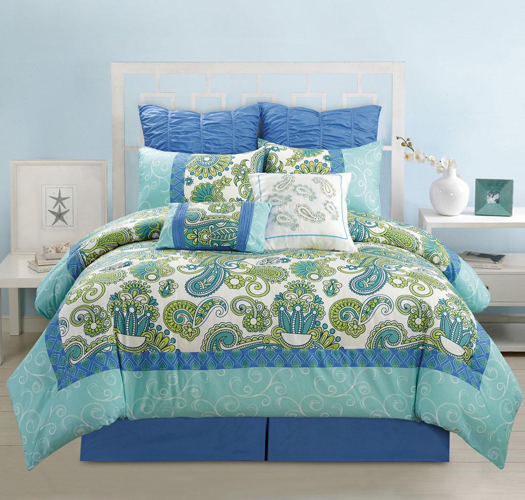 12 Piece Cal King Adelisa Blue Green Aqua Bed in A Bag Set