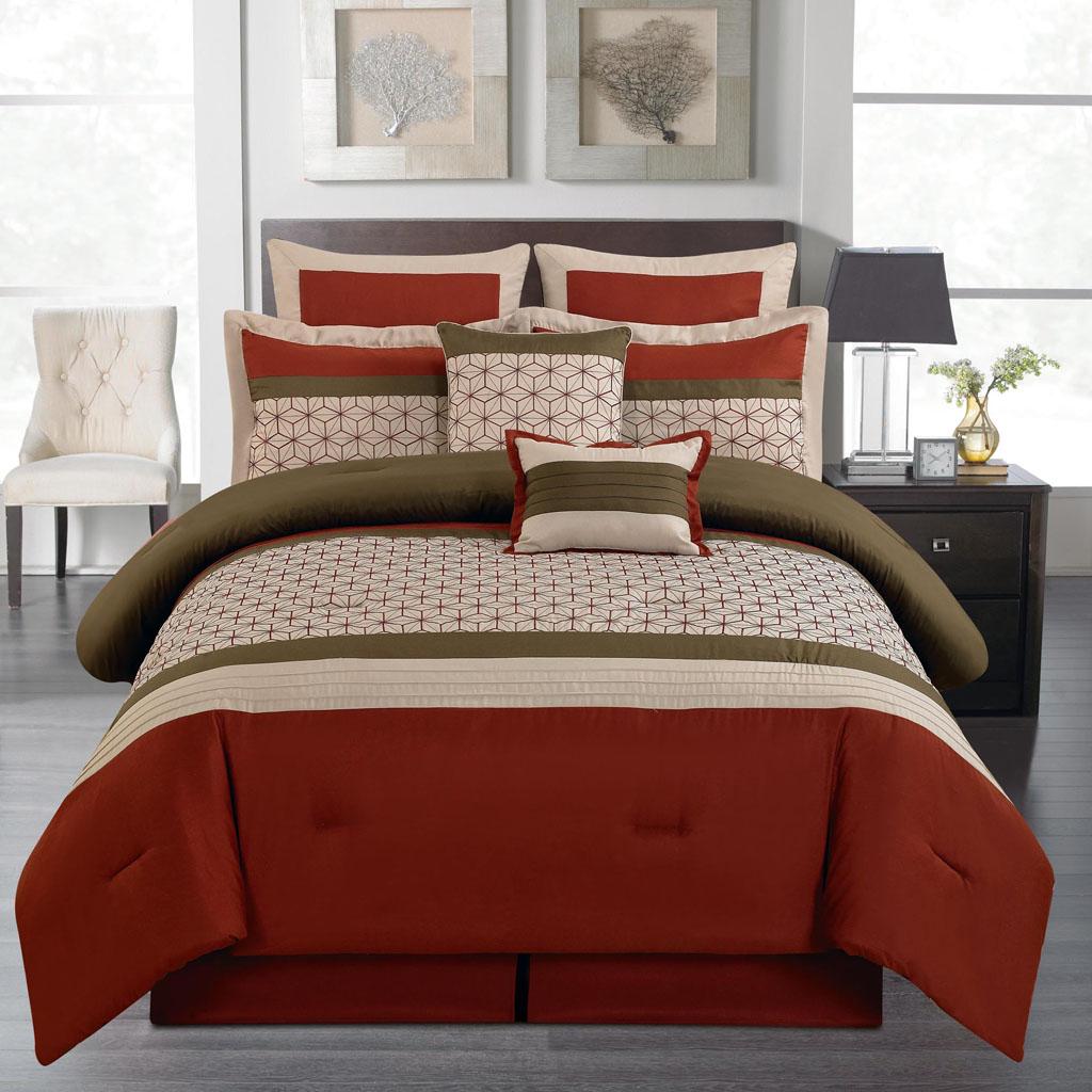 8 Piece Queen Lynch Burgundy Comforter Set   eBay