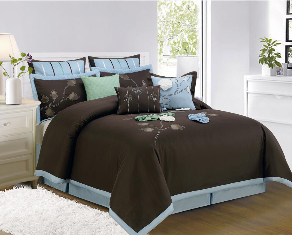 13 piece queen salzer brown bed in a bag w 600tc cotton sheet set ebay. Black Bedroom Furniture Sets. Home Design Ideas