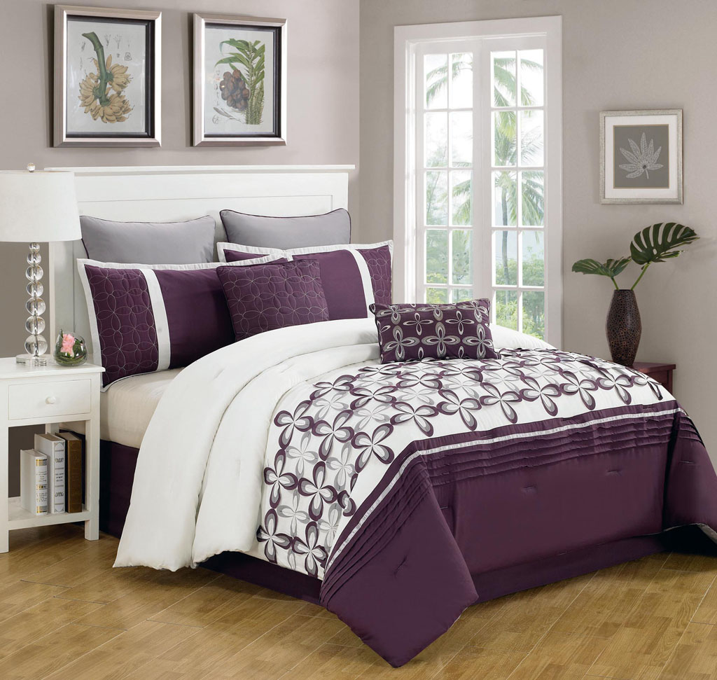 About 8 piece queen ellis purple and white bedding comforter set