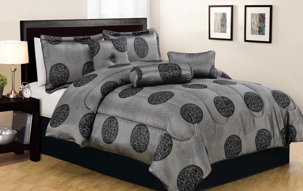7 piece king cosmic black and gray jacquard comforter set - Gray and black comforter set ...